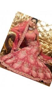 IBRSWL05 Onion Pink Pure Banaras And Net  Wedding Fish Tail Lehnga