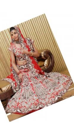 IBRSWL06 Reddish Maroon Pure Georgette Wedding Fish Tail Lehnga