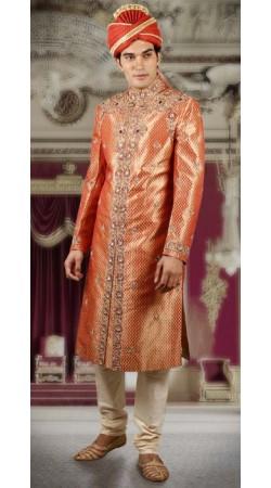 IBDTK0707 Orange And Off White Groom Sherwani