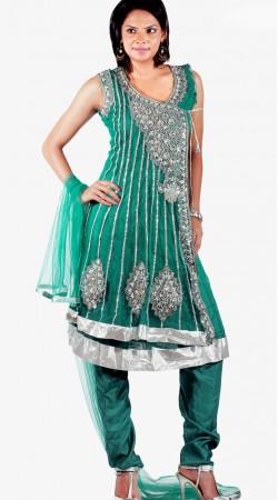 DT131007 Stunning Teal Net Churidar Salwar Kameez