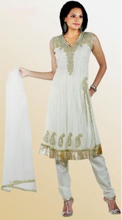 DT131011 Stunning Off White Net Churidar Salwar Kameez
