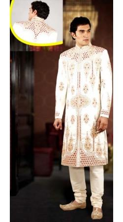IBDTK0710 Cream Groom Sherwani