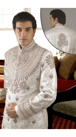 IBDTK0711 Off White Groom Sherwani