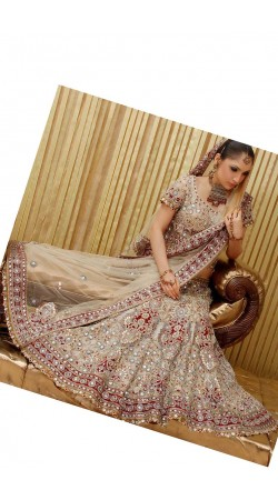 IBRSWL11 Off White And Maroon Pure Georgette Wedding Fish Tail Lehnga