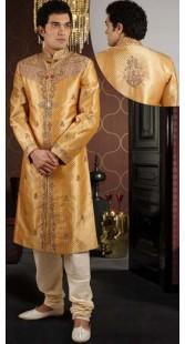 IBDTK0712 Light Orange And Off White Groom Sherwani