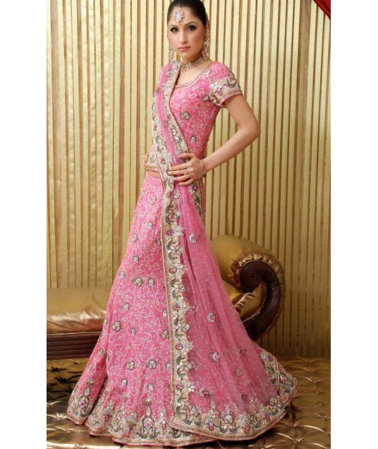 IBRSWL14 Pink Pure Georgette And Net Wedding Fish Tail Lehnga