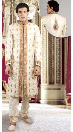 IBDTK0714 Cream And Off White Groom Sherwani