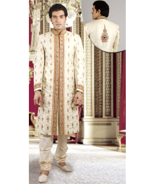 IBDTK0714 Cream And Off White Groom Sherwani