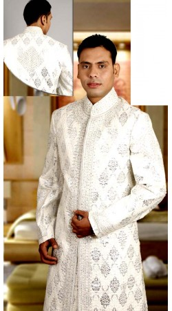 IBDTK0717 White Groom Sherwani