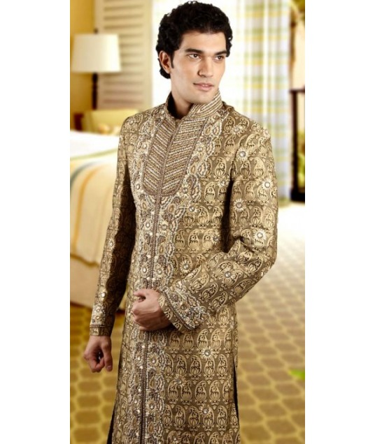 IBDTK0719 Khaki Brown Groom Sherwani