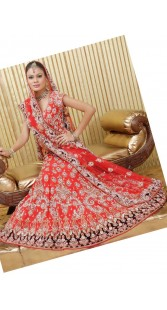 IBRSWL19 Red Pure Georgette And Net Wedding Fish Tail Lehnga
