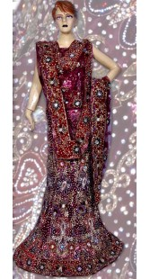 RB149120 Dull Wine Shimmer Wedding Lehenga