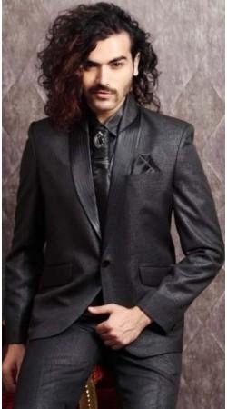 IBDT112174 Dark Grey Groom Designer Suit