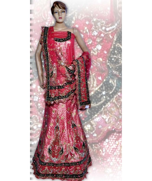 RB149121 Light Red Shimmer Wedding Lehenga