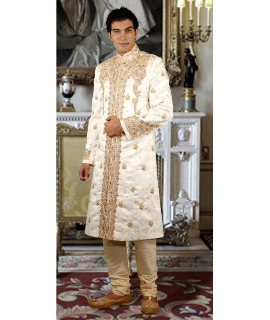 IBDTK0721 Cream And Dark Cream Groom Sherwani