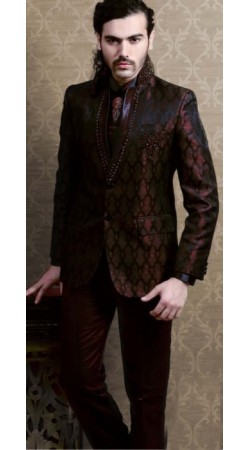 IBDT112201 Two Tone Wine Groom Designer Suit