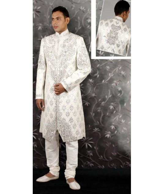 IBDTK0722 Off White And Off White Groom Sherwani