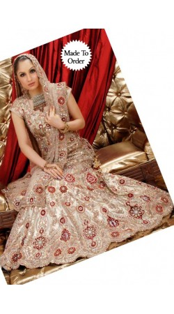 IBRSWL23 Fawn Silk Barcode And Net Wedding Fish Tail Lehnga