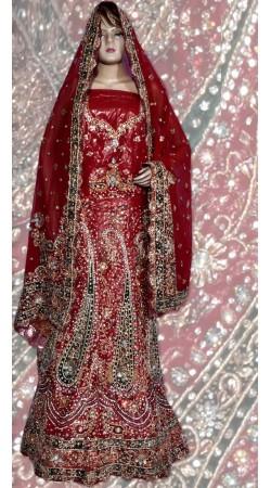 RB149124 Red Shimmer Wedding Lehenga