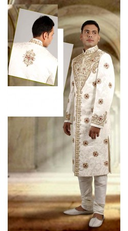 IBDTK0724 Off White Groom Sherwani