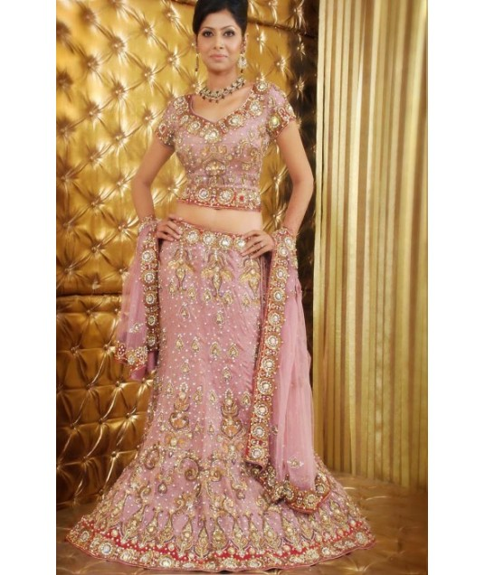 IBRSWL25 Light Pink Pure Georgette Base And Net Wedding Fish Tail Lehnga