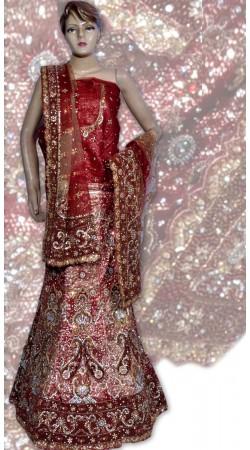 RB149127 Dark Red Shimmer Wedding Lehenga