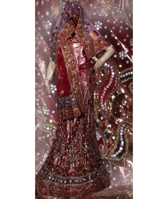 RB149129 Dark Red Shimmer Wedding Lehenga