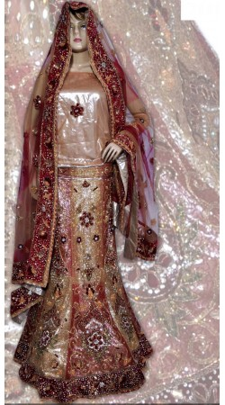 RB149130 Natural and Red Shimmer Wedding Lehenga