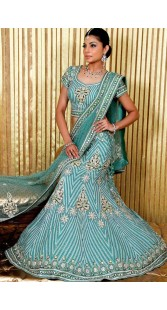 IBRSWL30 Light Blue Pure Georgette Base And Net Wedding Fish Tail Lehnga