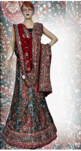 RB149131 Teal Shimmer Wedding Lehenga