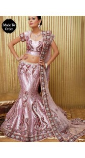 IBRSWL31 Light Pink Shinny Silk Base And Net Wedding Fish Tail Lehnga