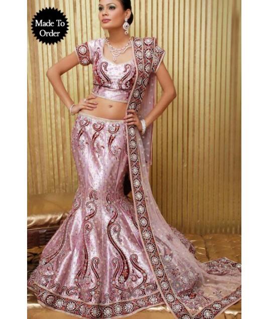IBRSWL31 Light Pink Shinny Silk Base And Net Wedding Fish Tail Lehnga