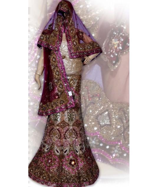 RB149133 Natural And Maroonish Magenta Shimmer Wedding Lehenga