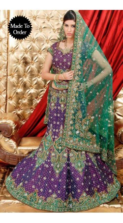IBRSWL34 Purple And Green Silk Base And Net Duputta Wedding Fish Tail Lehnga