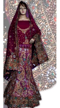 RB149134 Dark Red and Purplish Magenta Georgette Wedding Lehenga