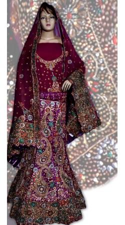 RB149134 Dark Red and Purplish Magenta Georgette Wedding Lehenga
