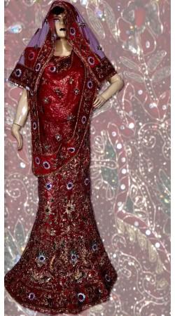RB149135 Red Shimmer Wedding Lehenga