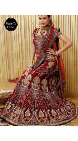 IBRSWL37 Red Velvete Base And Nett Duputta Wedding Fish Tail Lehnga