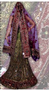 RB149137 Mehndi Green Shimmer Wedding Lehenga