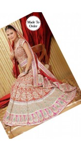 IBRSWL38 Red and Pink Georgette Wedding Fish Tail Lehnga