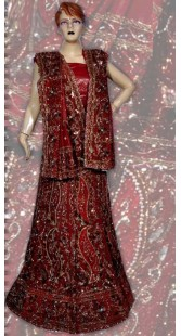 RB149138 Red Shimmer Wedding Lehenga