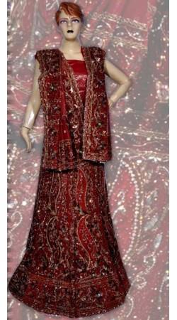 RB149138 Red Shimmer Wedding Lehenga