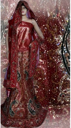 RB149139 Light Red Shimmer Wedding Lehenga