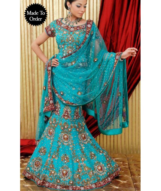 IBRSWL40 Dark Aqua Blue Pure Georgette Wedding Fish Tail Lehnga