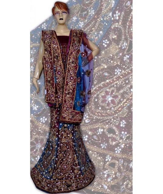 RB149140 Royal Blue Shimmer Wedding Lehenga