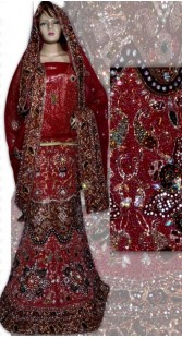 RB149141 Red And Light Red Shimmer Wedding Lehenga