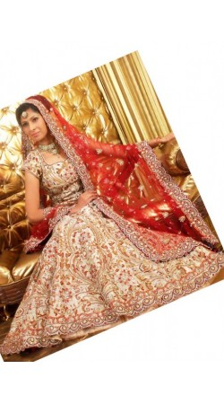 IBRSWL42 Red Silky Raw Silk Base And Nett Duputta Wedding Fish Tail Lehnga