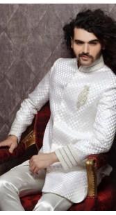 IBDT114300 White Groom Designer Suit