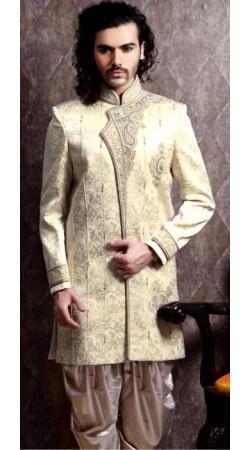 IBDT114315 Dark Cream Groom Dhoti Style Sherwani