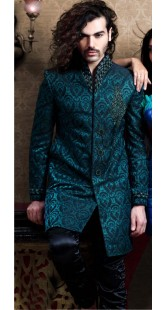 IBDT114345 Teal Blue Groom Designer Suit